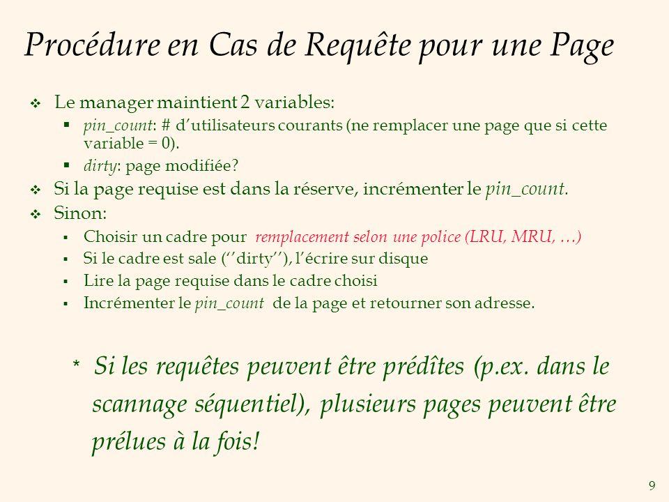 9 Procédure en Cas de Requête pour une Page Le manager maintient 2 variables: pin_count : # dutilisateurs courants (ne remplacer une page que si cette