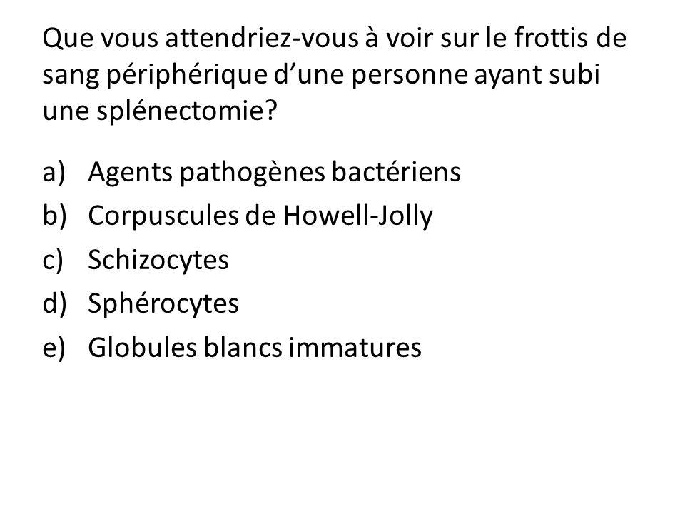 Que vous attendriez-vous à voir sur le frottis de sang périphérique dune personne ayant subi une splénectomie? a)Agents pathogènes bactériens b)Corpus