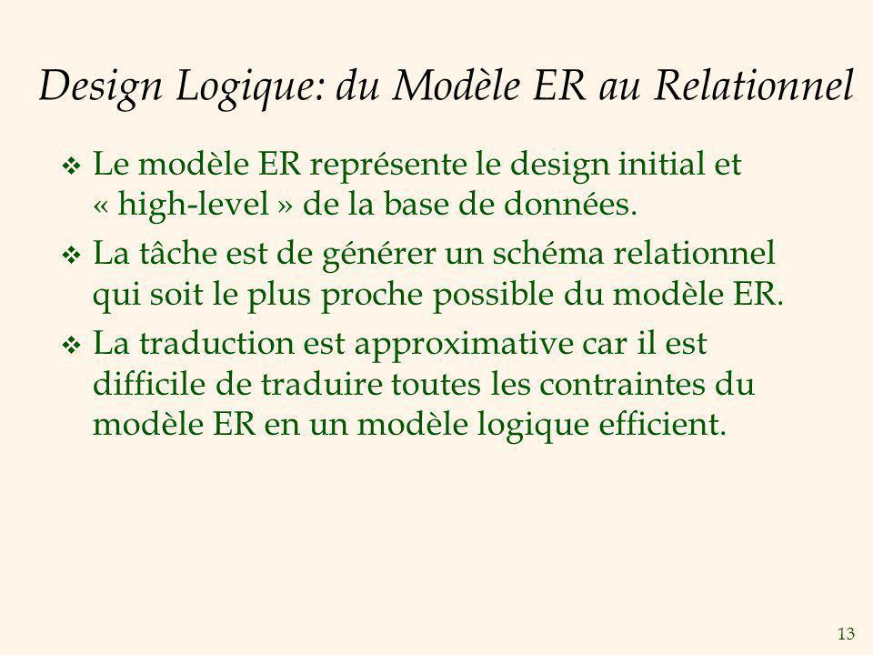13 Design Logique: du Modèle ER au Relationnel Le modèle ER représente le design initial et « high-level » de la base de données. La tâche est de géné