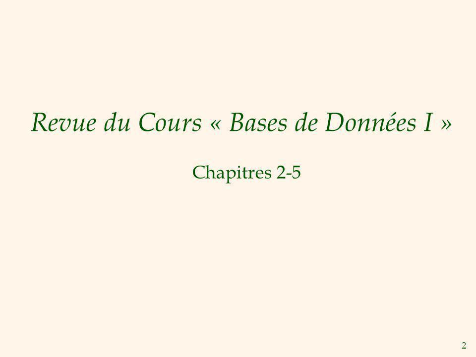 2 Revue du Cours « Bases de Données I » Chapitres 2-5