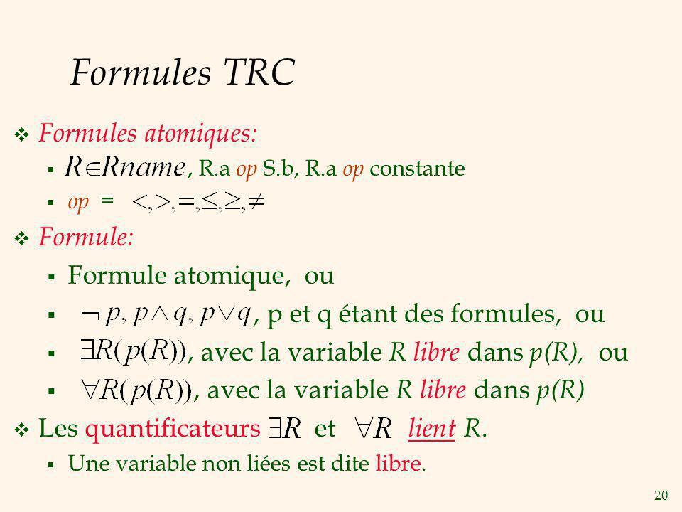 20 Formules TRC Formules atomiques:, R.a op S.b, R.a op constante op = Formule: Formule atomique, ou, p et q étant des formules, ou, avec la variable