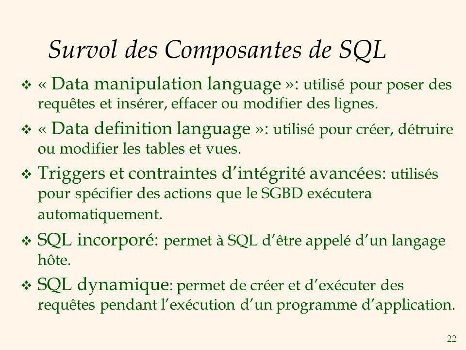 22 Survol des Composantes de SQL « Data manipulation language »: utilisé pour poser des requêtes et insérer, effacer ou modifier des lignes. « Data de