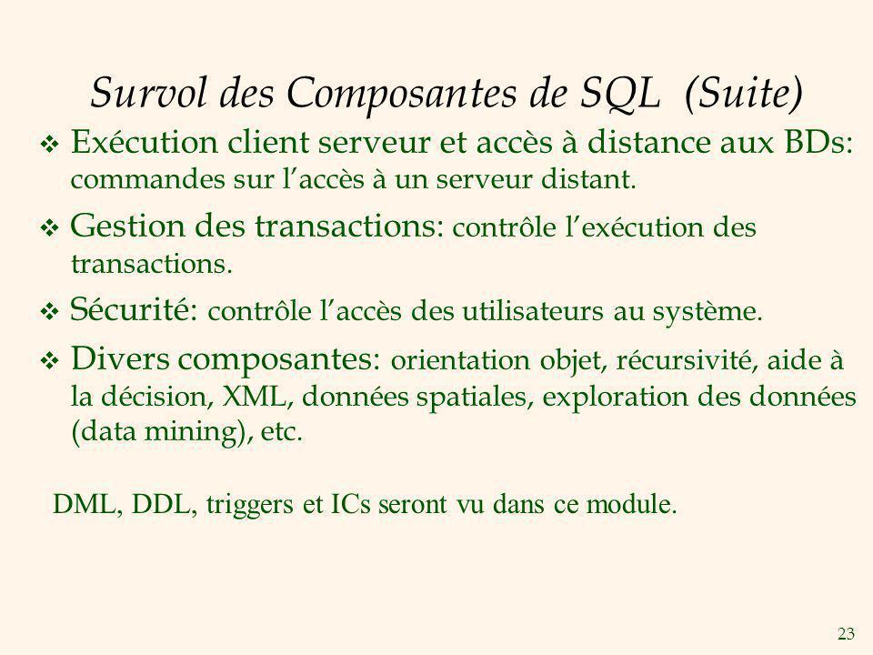23 Survol des Composantes de SQL (Suite) Exécution client serveur et accès à distance aux BDs: commandes sur laccès à un serveur distant. Gestion des