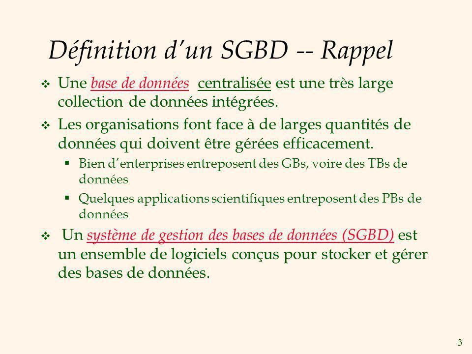 3 Définition dun SGBD -- Rappel Une base de données centralisée est une très large collection de données intégrées. Les organisations font face à de l