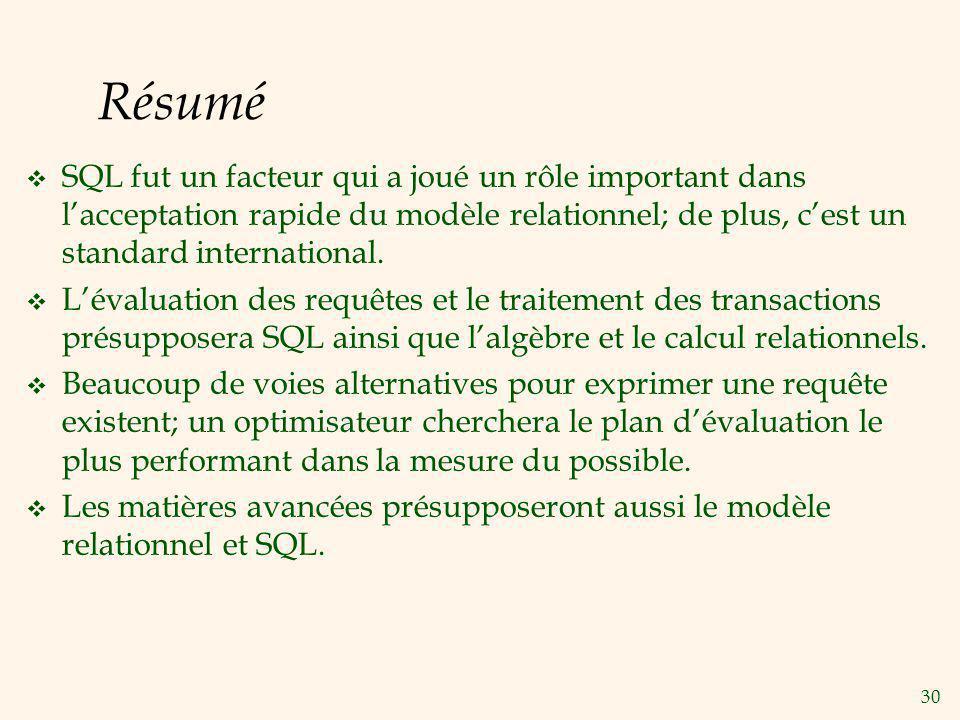 30 Résumé SQL fut un facteur qui a joué un rôle important dans lacceptation rapide du modèle relationnel; de plus, cest un standard international. Lév