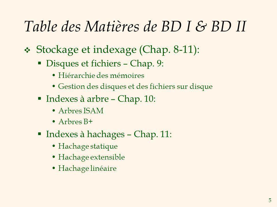 5 Table des Matières de BD I & BD II Stockage et indexage (Chap. 8-11): Disques et fichiers – Chap. 9: Hiérarchie des mémoires Gestion des disques et