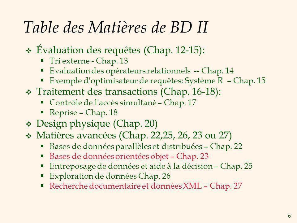 6 Table des Matières de BD II Évaluation des requêtes (Chap. 12-15): Tri externe - Chap. 13 Evaluation des opérateurs relationnels -- Chap. 14 Exemple
