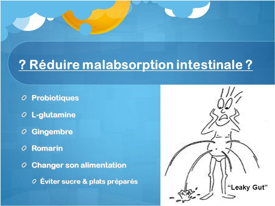 Réduire malabsorption intestinale .