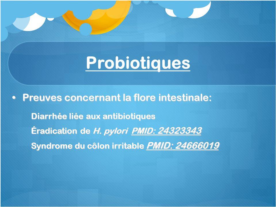 Probiotiques Preuves concernant la flore intestinale:Preuves concernant la flore intestinale: Diarrhée liée aux antibiotiques Éradication de H. pylori
