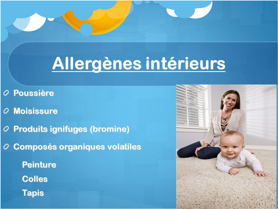 Allergènes intérieurs PoussièreMoisissure Produits ignifuges (bromine) Composés organiques volatiles PeintureCollesTapis