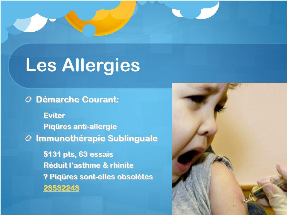 Les Allergies Démarche Courant: Eviter Piqûres anti-allergie Immunothérapie Sublinguale 5131 pts, 63 essais Réduit lasthme & rhinite ? Piqûres sont-el