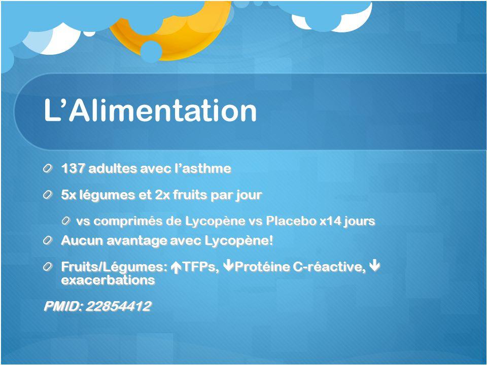 LAlimentation 137 adultes avec lasthme 5x légumes et 2x fruits par jour vs comprimés de Lycopène vs Placebo x14 jours Aucun avantage avec Lycopène! Fr