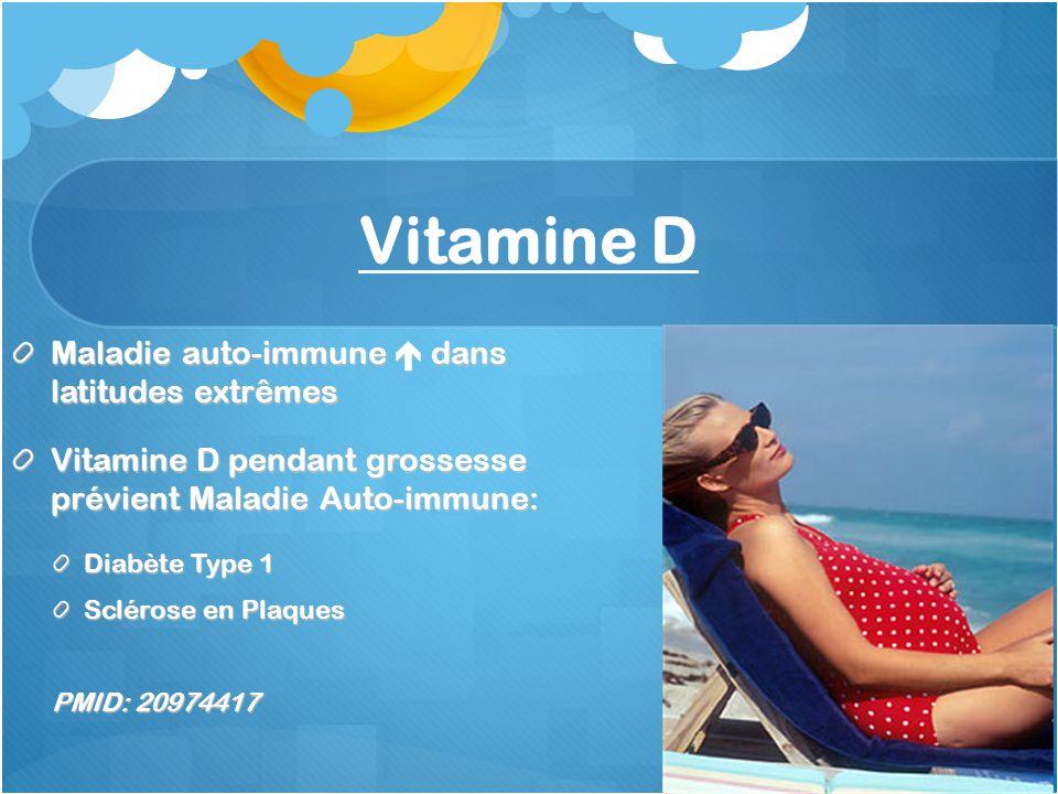 Vitamine D Maladie auto-immune dans latitudes extrêmes Vitamine D pendant grossesse prévient Maladie Auto-immune: Diabète Type 1 Sclérose en Plaques PMID: 20974417