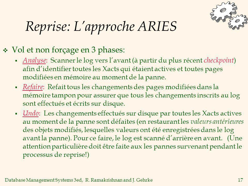 Database Management Systems 3ed, R. Ramakrishnan and J. Gehrke17 Reprise: Lapproche ARIES Vol et non forçage en 3 phases: Analyse : Scanner le log ver