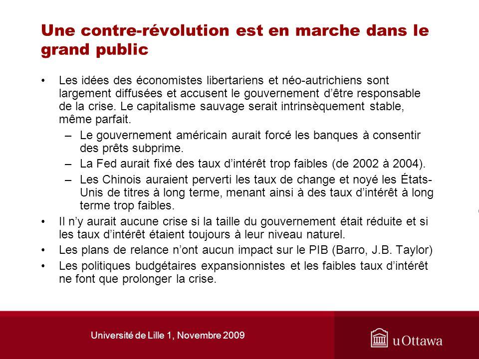 Université de Lille 1, Novembre 2009 Une contre-révolution est en marche dans le grand public Les idées des économistes libertariens et néo-autrichien