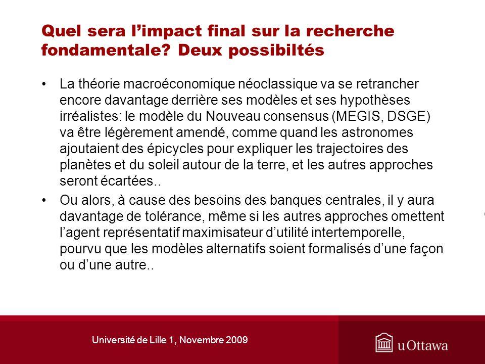 Université de Lille 1, Novembre 2009 Quel sera limpact final sur la recherche fondamentale? Deux possibiltés La théorie macroéconomique néoclassique v