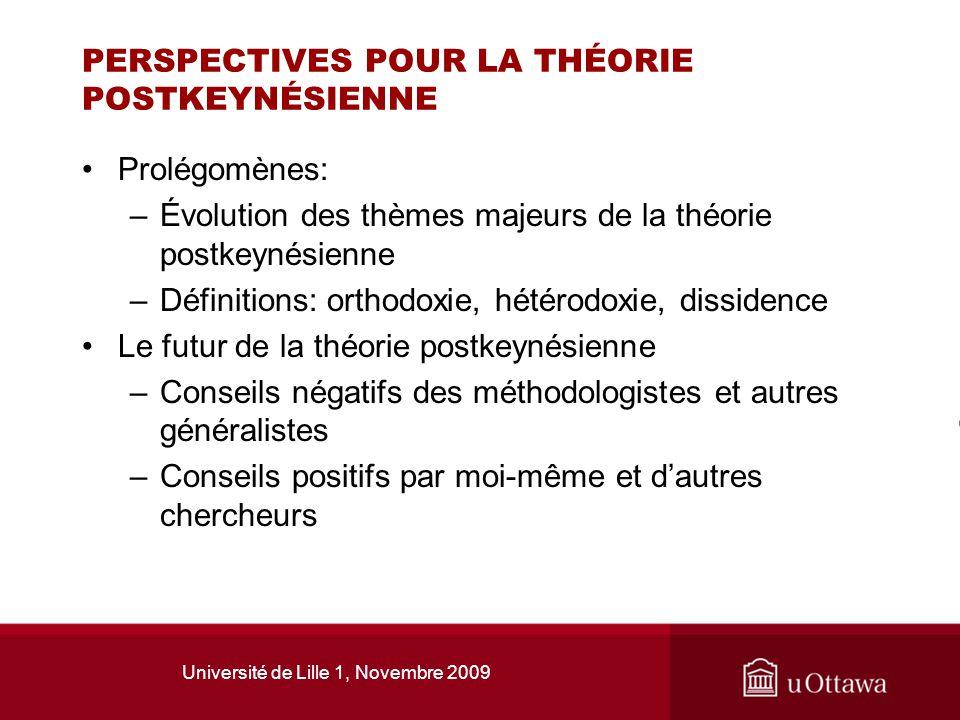 Université de Lille 1, Novembre 2009 PERSPECTIVES POUR LA THÉORIE POSTKEYNÉSIENNE Prolégomènes: –Évolution des thèmes majeurs de la théorie postkeynés