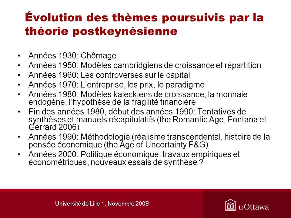 Université de Lille 1, Novembre 2009 Évolution des thèmes poursuivis par la théorie postkeynésienne Années 1930: Chômage Années 1950: Modèles cambridg