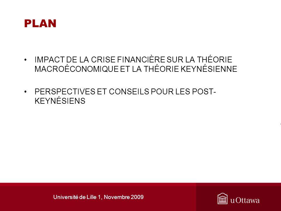 Université de Lille 1, Novembre 2009 PLAN IMPACT DE LA CRISE FINANCIÈRE SUR LA THÉORIE MACROÉCONOMIQUE ET LA THÉORIE KEYNÉSIENNE PERSPECTIVES ET CONSE