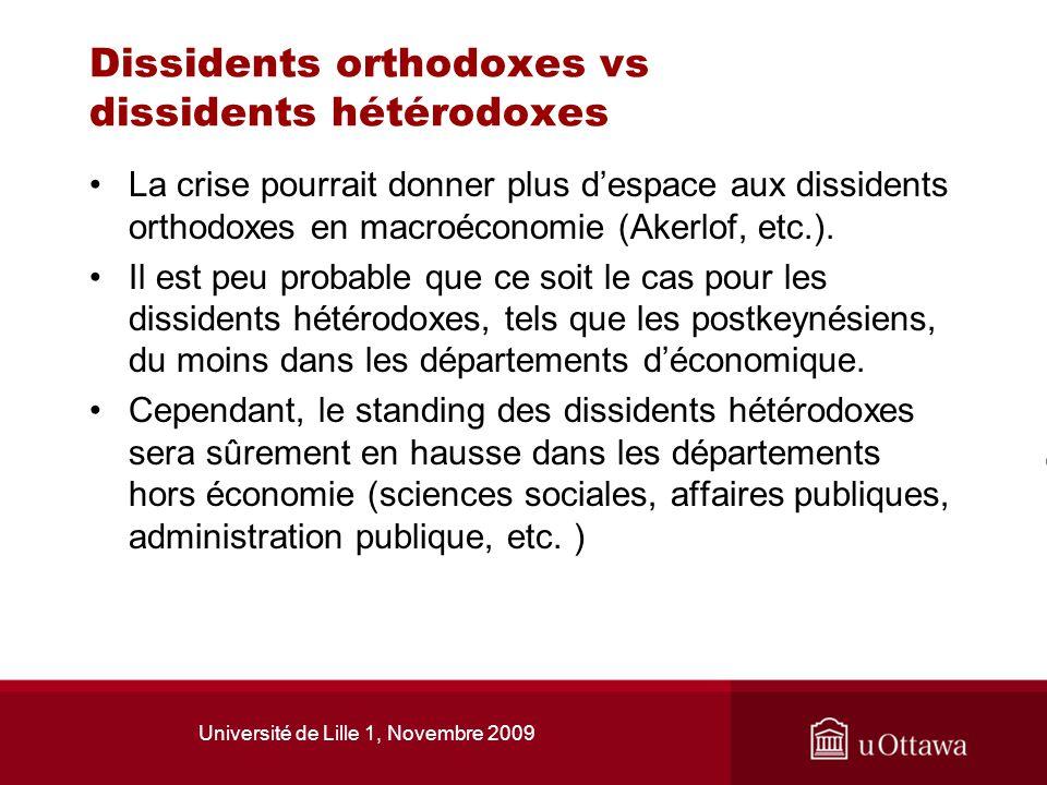 Université de Lille 1, Novembre 2009 Dissidents orthodoxes vs dissidents hétérodoxes La crise pourrait donner plus despace aux dissidents orthodoxes e