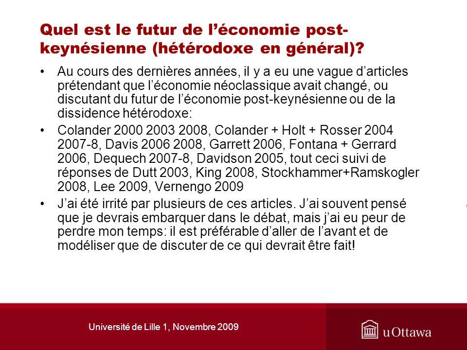 Université de Lille 1, Novembre 2009 Quel est le futur de léconomie post- keynésienne (hétérodoxe en général)? Au cours des dernières années, il y a e