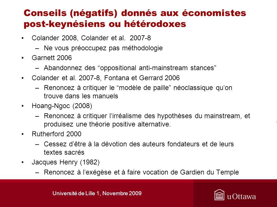 Université de Lille 1, Novembre 2009 Conseils (négatifs) donnés aux économistes post-keynésiens ou hétérodoxes Colander 2008, Colander et al. 2007-8 –