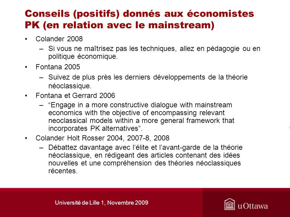 Université de Lille 1, Novembre 2009 Conseils (positifs) donnés aux économistes PK (en relation avec le mainstream) Colander 2008 –Si vous ne maîtrise