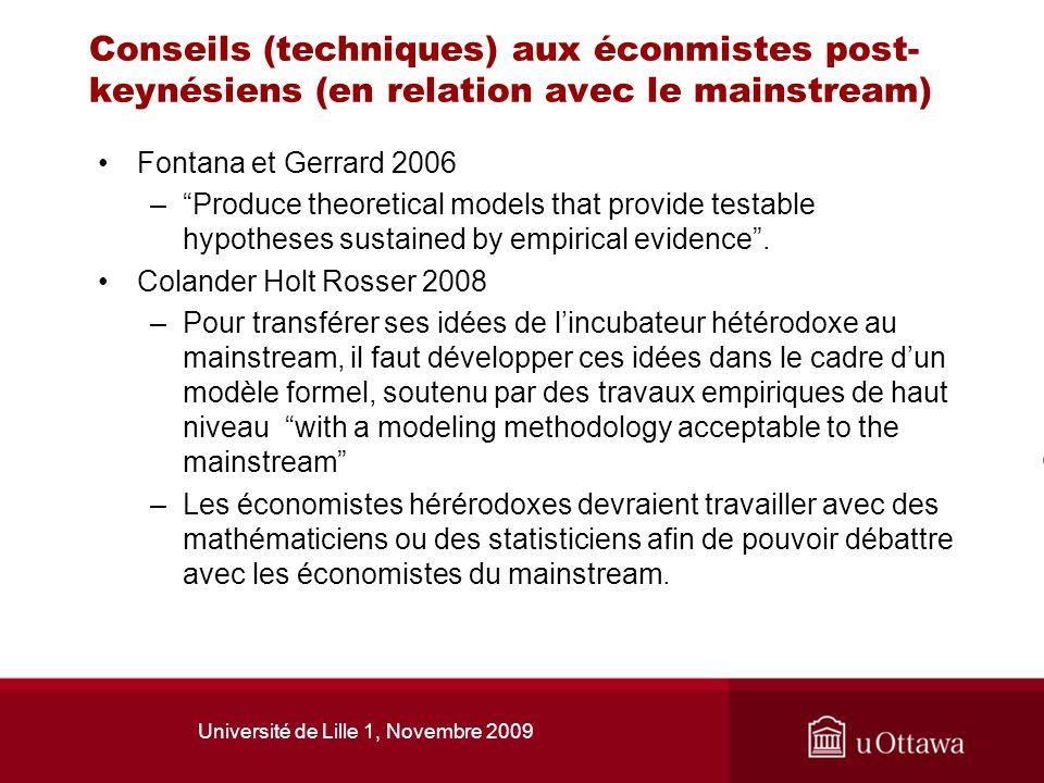 Université de Lille 1, Novembre 2009 Conseils (techniques) aux éconmistes post- keynésiens (en relation avec le mainstream) Fontana et Gerrard 2006 –P