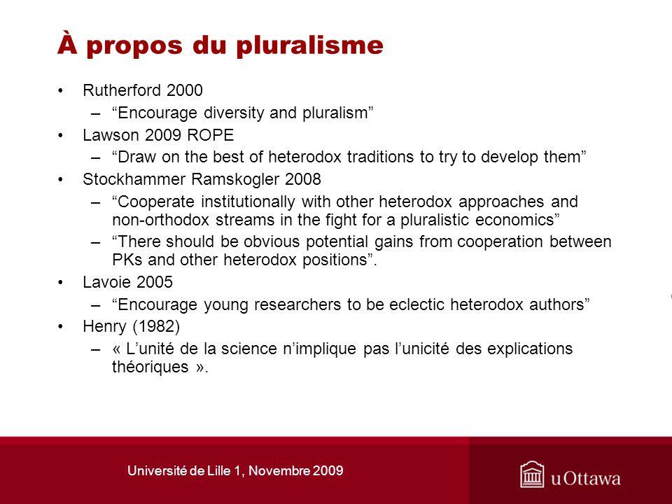 Université de Lille 1, Novembre 2009 À propos du pluralisme Rutherford 2000 –Encourage diversity and pluralism Lawson 2009 ROPE –Draw on the best of h