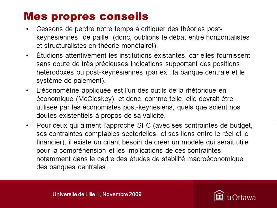 Université de Lille 1, Novembre 2009 Mes propres conseils Cessons de perdre notre temps à critiquer des théories post- keynésiennes de paille (donc, o