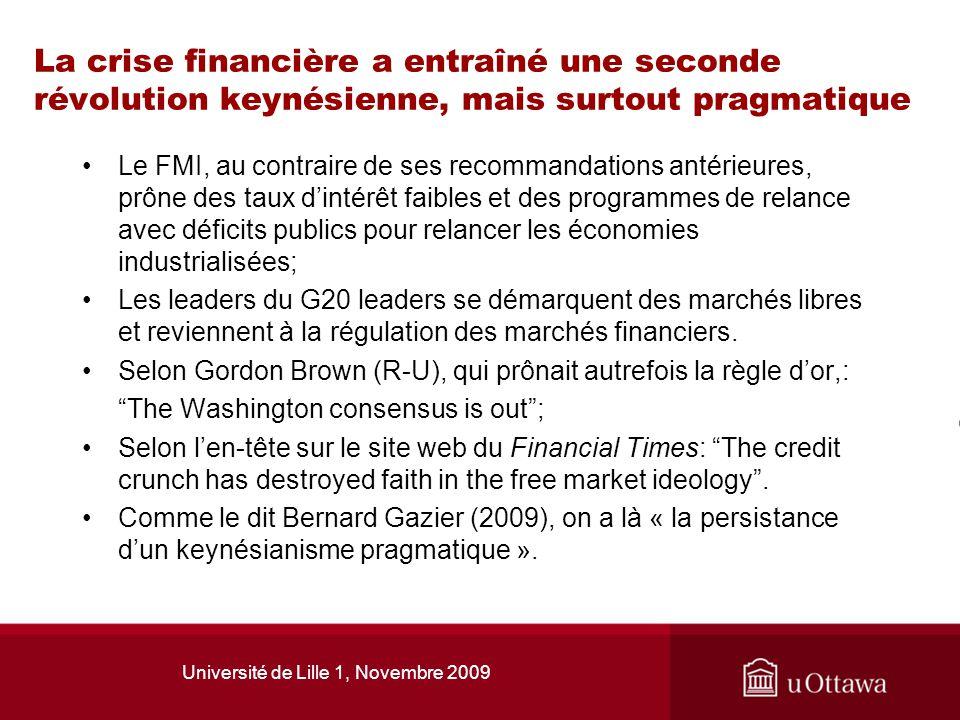Université de Lille 1, Novembre 2009 La crise financière a entraîné une seconde révolution keynésienne, mais surtout pragmatique Le FMI, au contraire