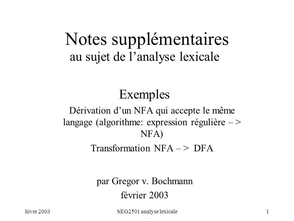 hiver 2003SEG2501 analyse lexicale1 Notes supplémentaires au sujet de lanalyse lexicale Exemples Dérivation dun NFA qui accepte le même langage (algorithme: expression régulière – > NFA) Transformation NFA – > DFA par Gregor v.