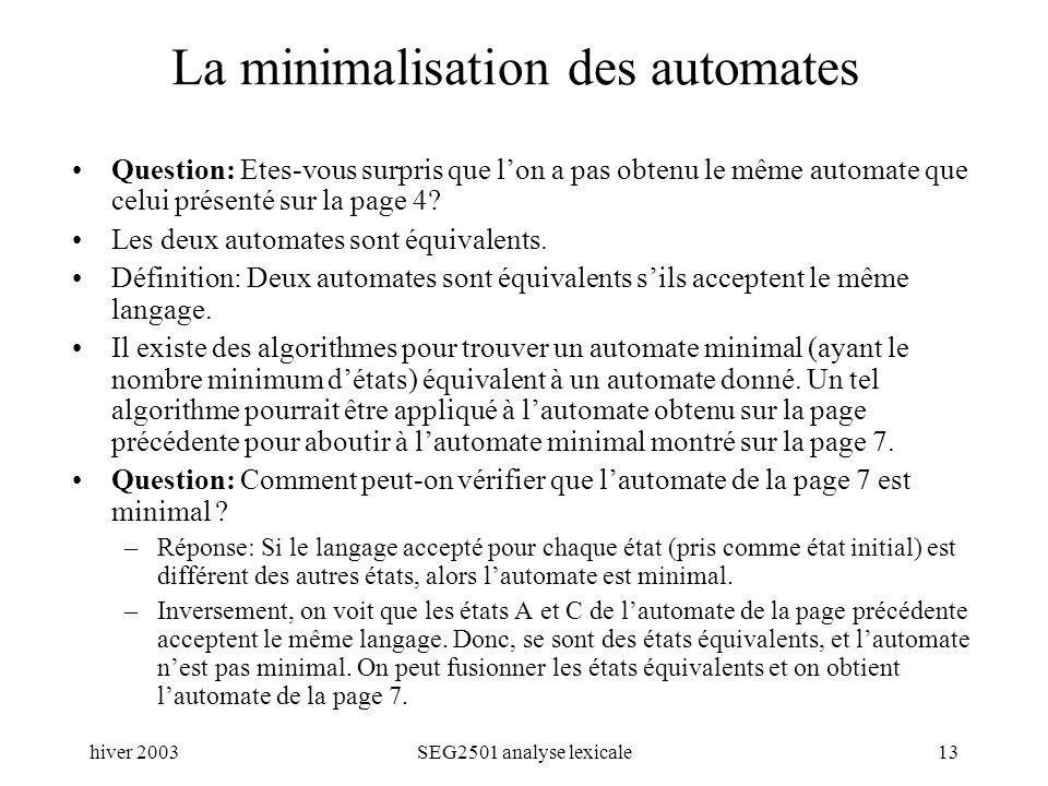 hiver 2003SEG2501 analyse lexicale13 La minimalisation des automates Question: Etes-vous surpris que lon a pas obtenu le même automate que celui présenté sur la page 4.