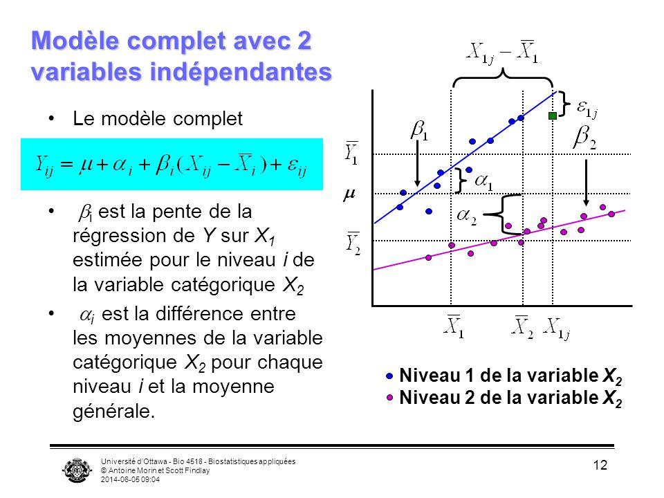 Université dOttawa - Bio 4518 - Biostatistiques appliquées © Antoine Morin et Scott Findlay 2014-06-05 09:06 12 Modèle complet avec 2 variables indépendantes Le modèle complet i est la pente de la régression de Y sur X 1 estimée pour le niveau i de la variable catégorique X 2 i est la différence entre les moyennes de la variable catégorique X 2 pour chaque niveau i et la moyenne générale.