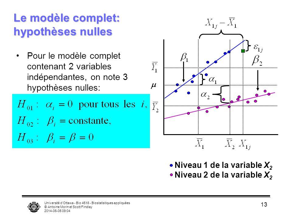 Université dOttawa - Bio 4518 - Biostatistiques appliquées © Antoine Morin et Scott Findlay 2014-06-05 09:06 13 Le modèle complet: hypothèses nulles Pour le modèle complet contenant 2 variables indépendantes, on note 3 hypothèses nulles: Niveau 1 de la variable X 2 Niveau 2 de la variable X 2