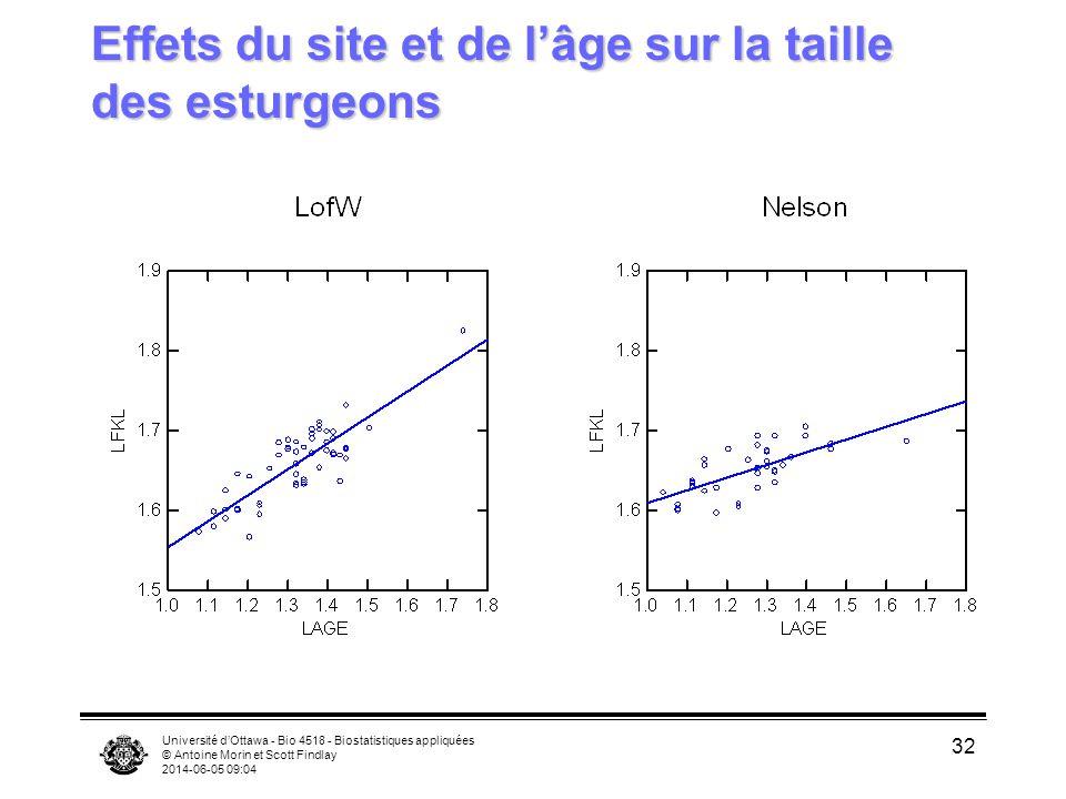 Université dOttawa - Bio 4518 - Biostatistiques appliquées © Antoine Morin et Scott Findlay 2014-06-05 09:06 32 Effets du site et de lâge sur la taille des esturgeons