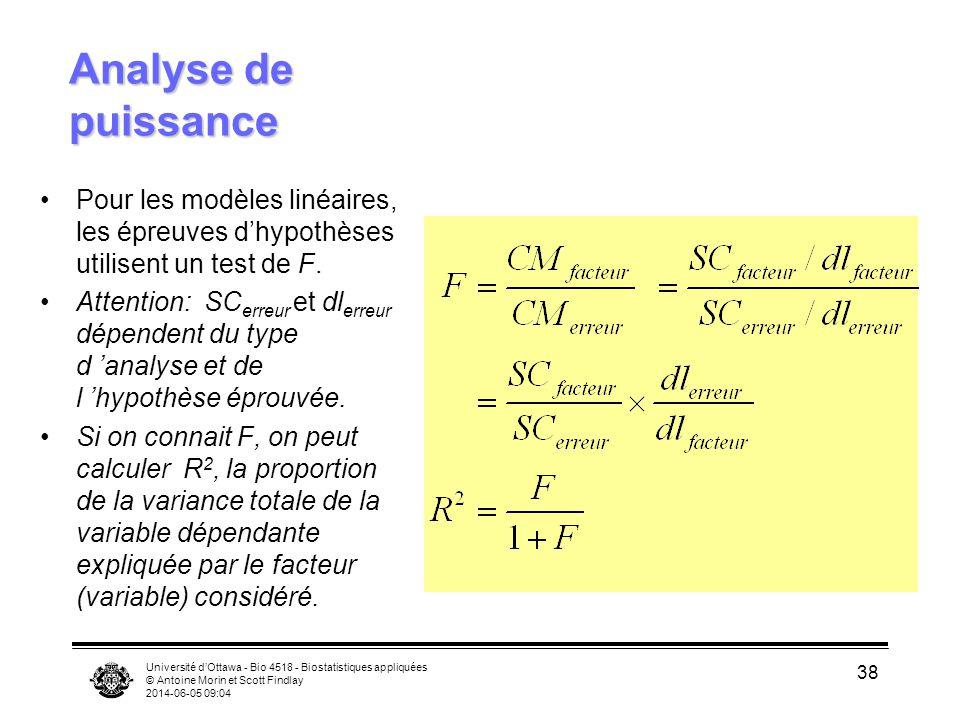 Université dOttawa - Bio 4518 - Biostatistiques appliquées © Antoine Morin et Scott Findlay 2014-06-05 09:06 38 Analyse de puissance Pour les modèles linéaires, les épreuves dhypothèses utilisent un test de F.