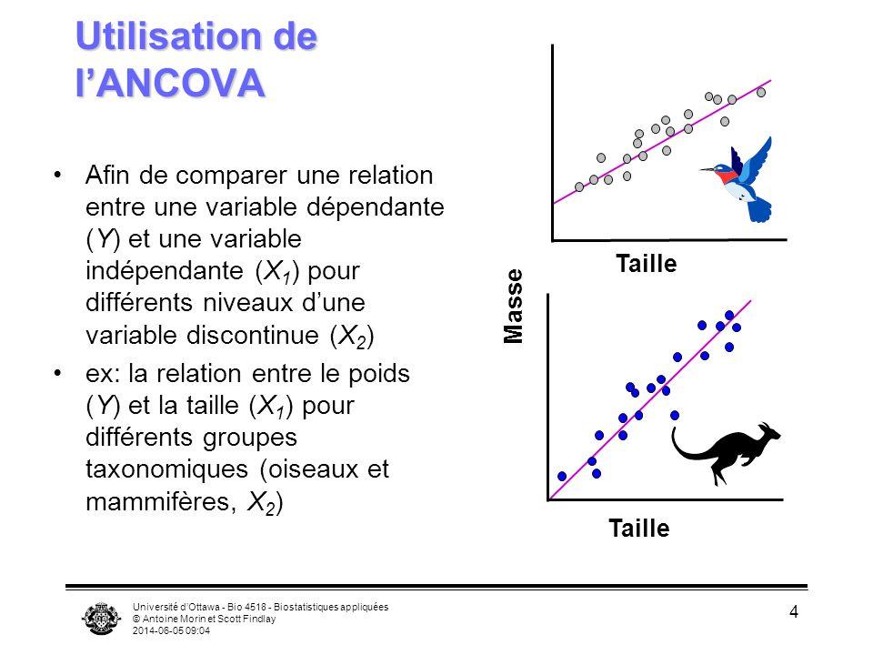 Université dOttawa - Bio 4518 - Biostatistiques appliquées © Antoine Morin et Scott Findlay 2014-06-05 09:06 4 Utilisation de lANCOVA Afin de comparer une relation entre une variable dépendante (Y) et une variable indépendante (X 1 ) pour différents niveaux dune variable discontinue (X 2 ) ex: la relation entre le poids (Y) et la taille (X 1 ) pour différents groupes taxonomiques (oiseaux et mammifères, X 2 ) Taille Masse Taille