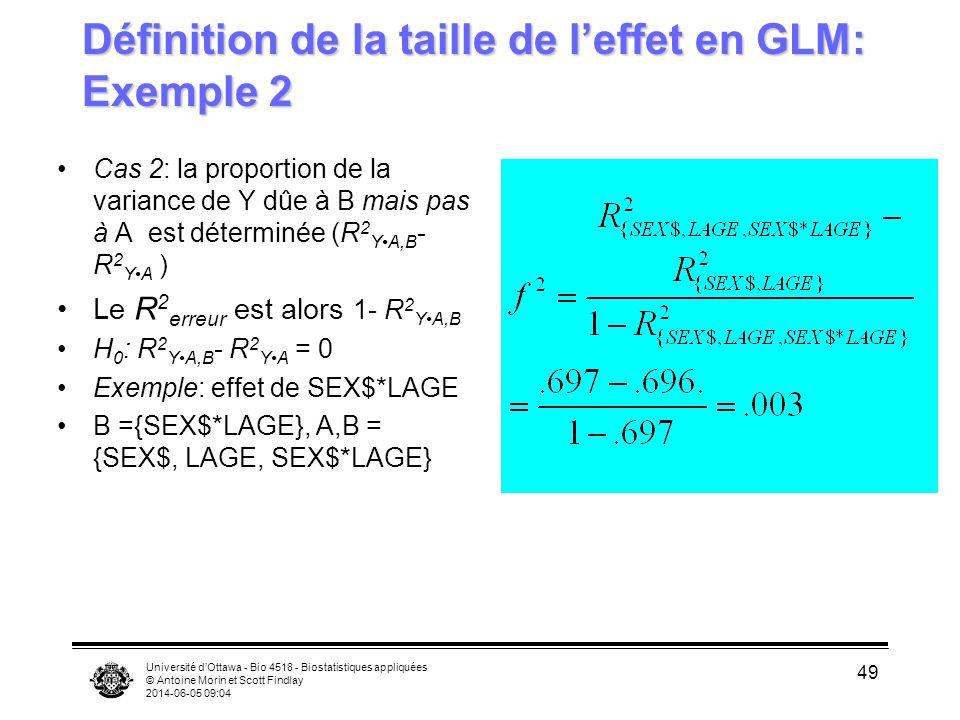 Université dOttawa - Bio 4518 - Biostatistiques appliquées © Antoine Morin et Scott Findlay 2014-06-05 09:06 49 Définition de la taille de leffet en GLM: Exemple 2 Cas 2: la proportion de la variance de Y dûe à B mais pas à A est déterminée (R 2 YA,B - R 2 YA ) Le R 2 erreur est alors 1- R 2 YA,B H 0 : R 2 YA,B - R 2 YA = 0 Exemple: effet de SEX$*LAGE B ={SEX$*LAGE}, A,B = {SEX$, LAGE, SEX$*LAGE}