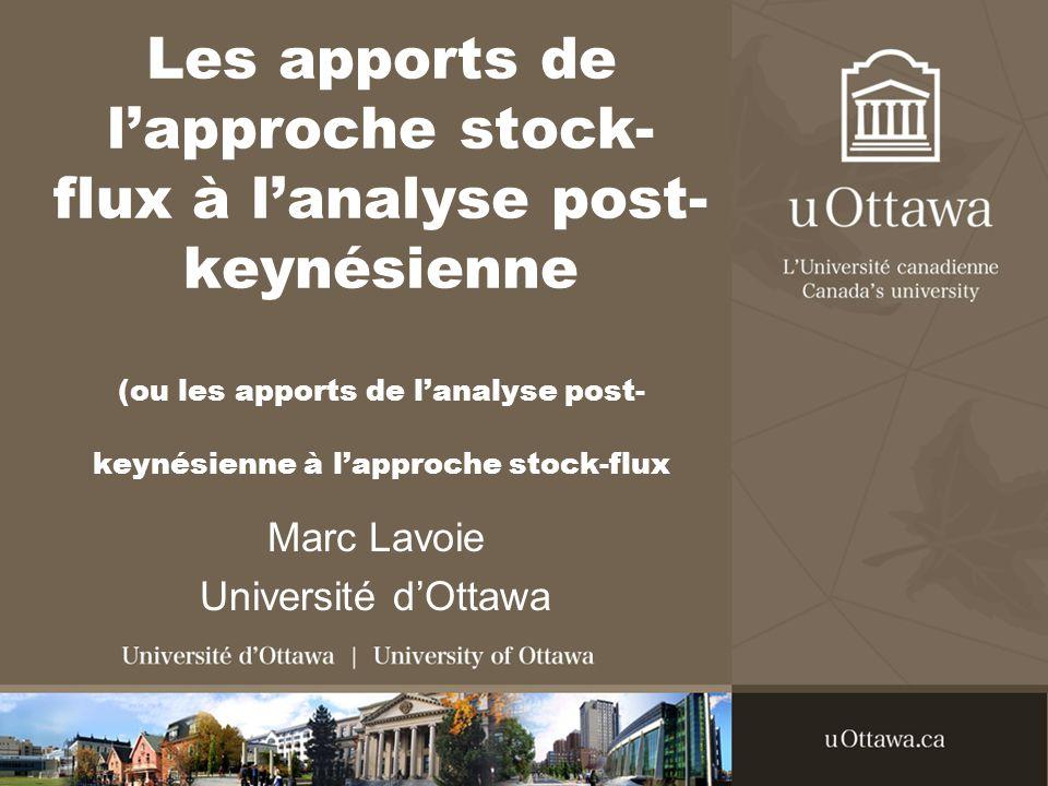Les apports de lapproche stock- flux à lanalyse post- keynésienne (ou les apports de lanalyse post- keynésienne à lapproche stock-flux Marc Lavoie Université dOttawa