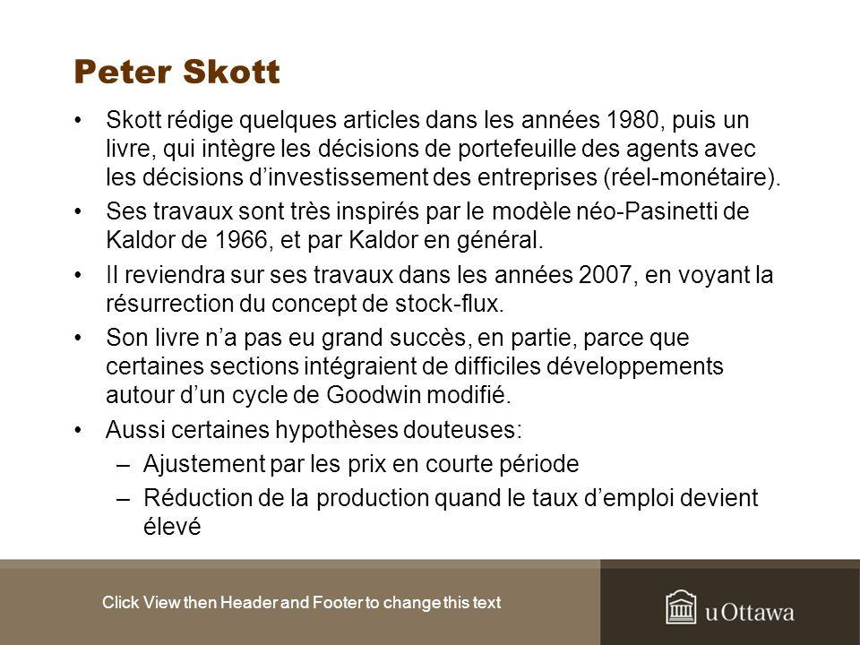 Peter Skott Skott rédige quelques articles dans les années 1980, puis un livre, qui intègre les décisions de portefeuille des agents avec les décisions dinvestissement des entreprises (réel-monétaire).
