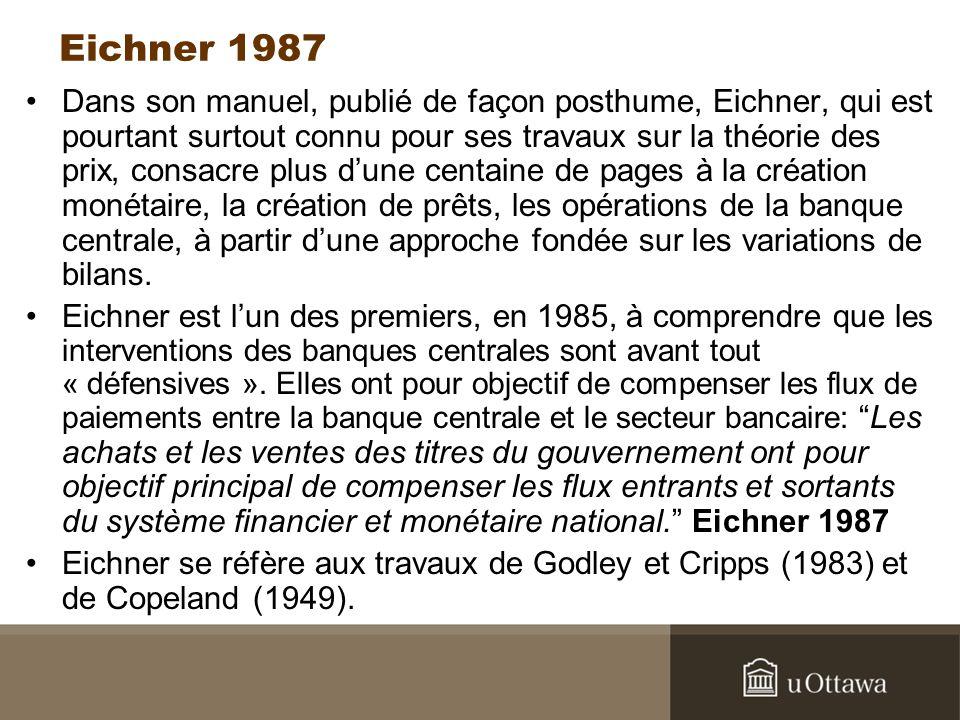 Eichner 1987 Dans son manuel, publié de façon posthume, Eichner, qui est pourtant surtout connu pour ses travaux sur la théorie des prix, consacre plus dune centaine de pages à la création monétaire, la création de prêts, les opérations de la banque centrale, à partir dune approche fondée sur les variations de bilans.