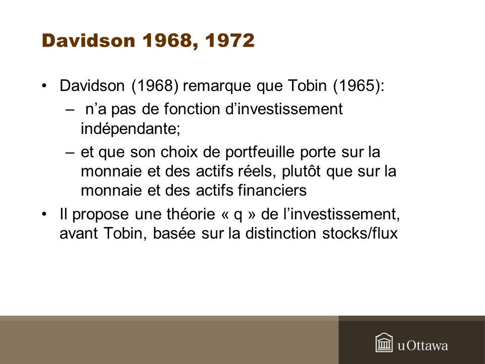 Davidson 1968, 1972 Davidson (1968) remarque que Tobin (1965): – na pas de fonction dinvestissement indépendante; –et que son choix de portfeuille porte sur la monnaie et des actifs réels, plutôt que sur la monnaie et des actifs financiers Il propose une théorie « q » de linvestissement, avant Tobin, basée sur la distinction stocks/flux
