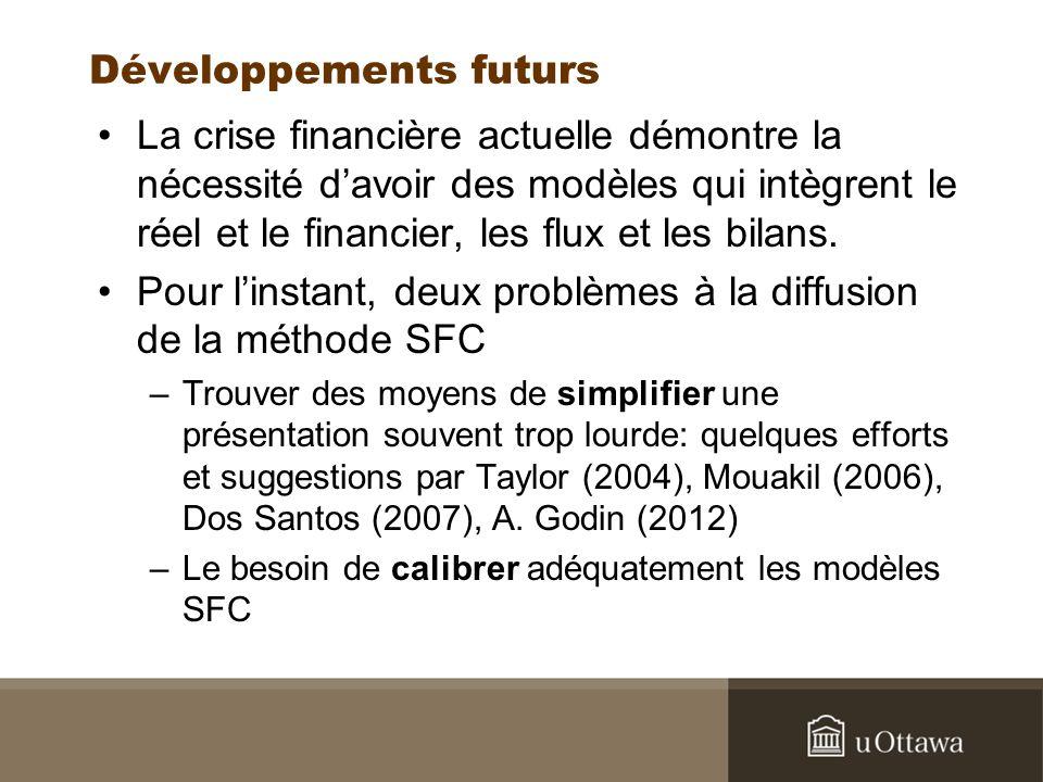Développements futurs La crise financière actuelle démontre la nécessité davoir des modèles qui intègrent le réel et le financier, les flux et les bilans.