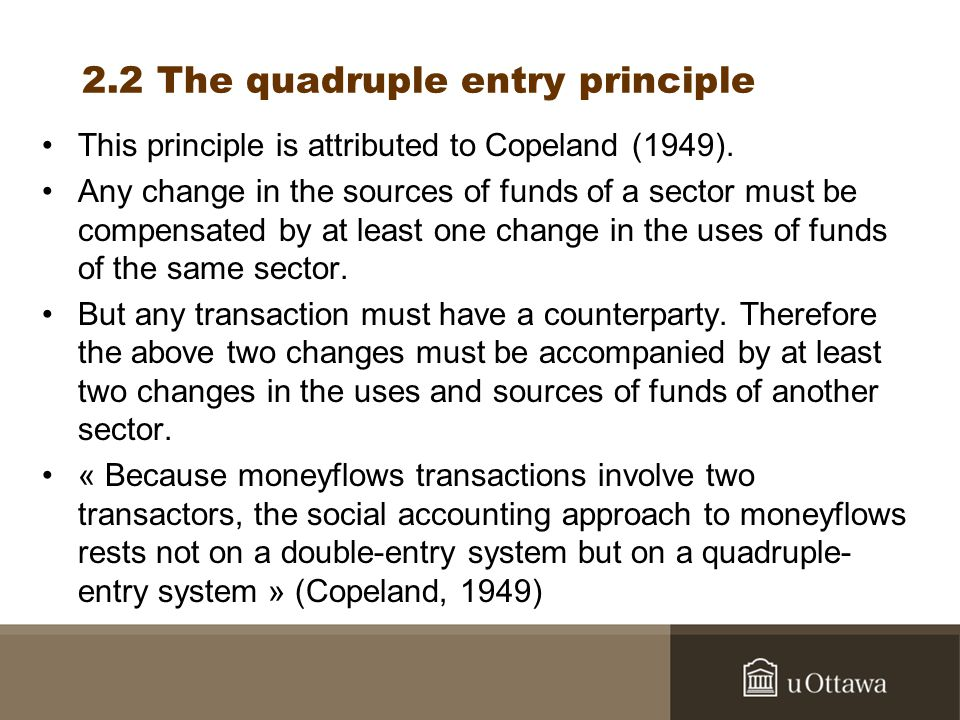2.2 The quadruple entry principle This principle is attributed to Copeland (1949).