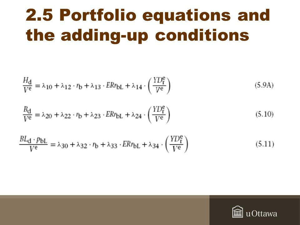 2.5 Portfolio equations and the adding-up conditions