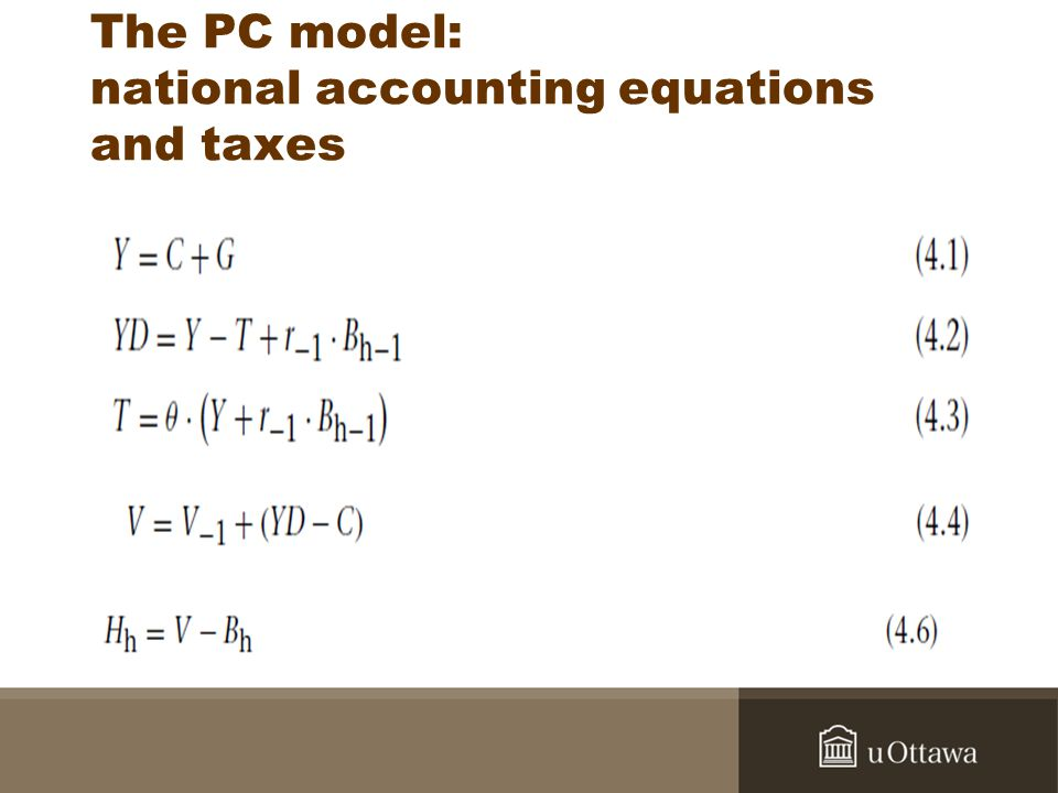 The PC model: national accounting equations and taxes