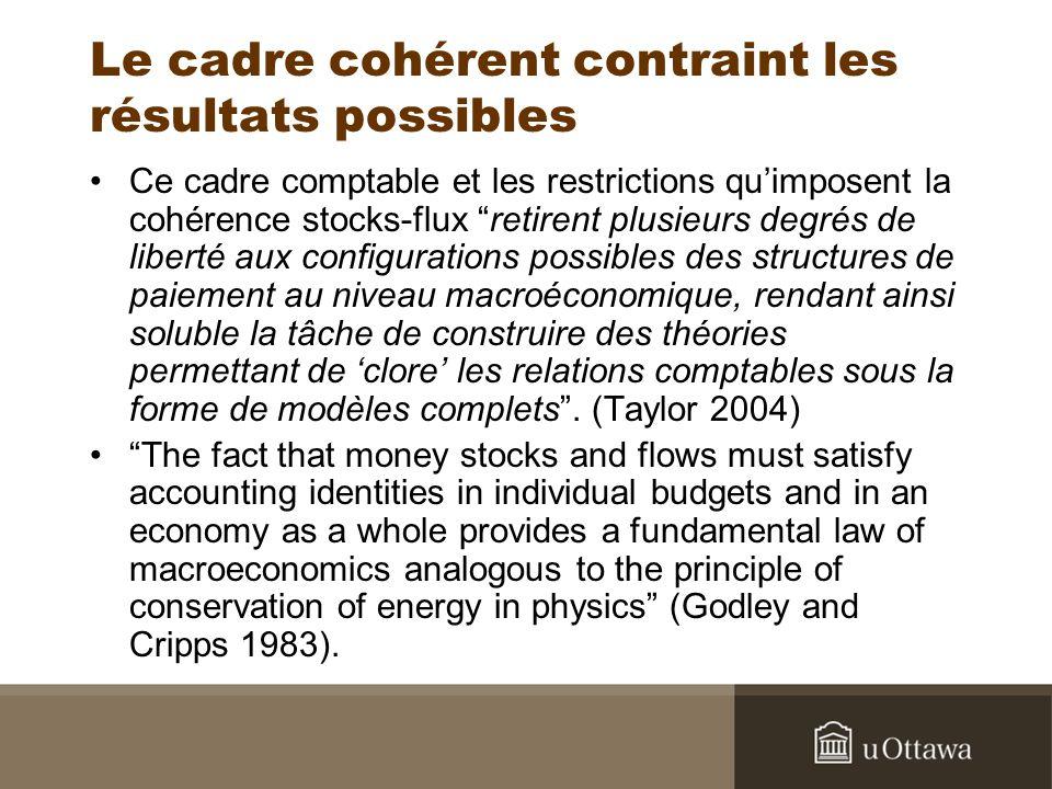 … et ceux qui la verront venir … « By building an accounting framework that follows the circulation of money through the economy, we can therefore ensure that we account for all the critical flows of financing that lead to the stocks of assets and liabilities in which financial fragility can build….Looking ahead, we hope that using a framework that draws out the linkages between activity and balance sheets of the financial sectors can make a contribution towards the detection of growing financial fragilities.» (Barwell and Burrows, 2011, Bank of England).