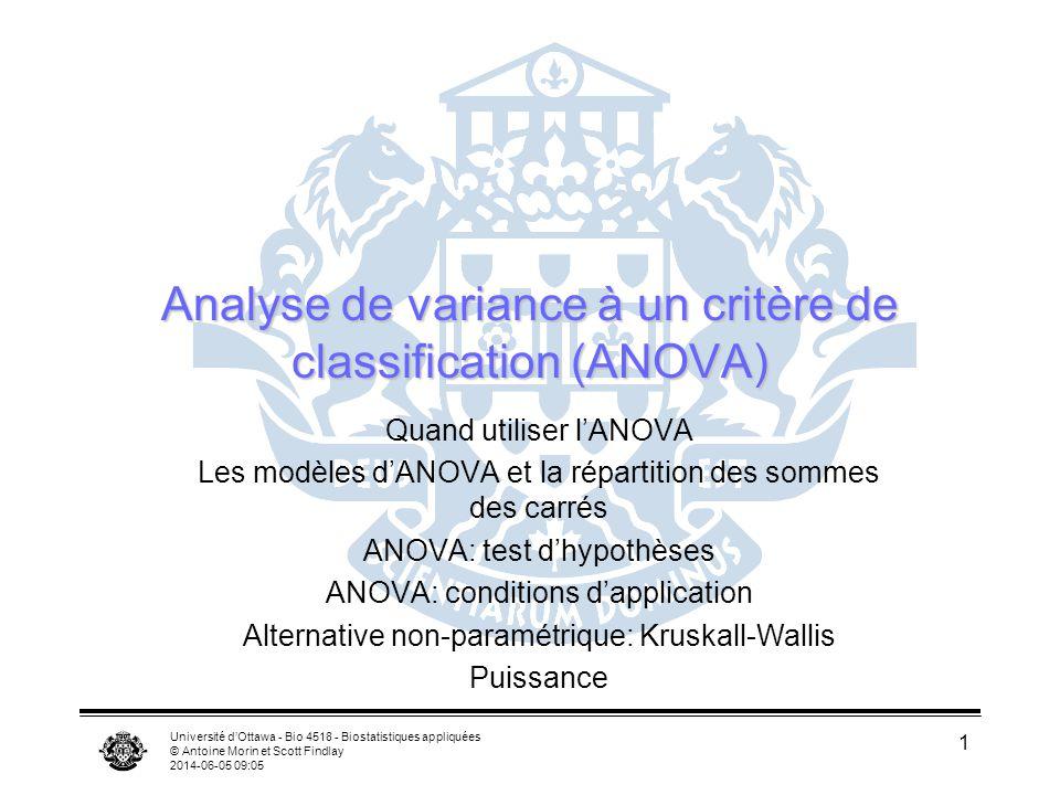 Université dOttawa - Bio 4518 - Biostatistiques appliquées © Antoine Morin et Scott Findlay 2014-06-05 09:06 1 Analyse de variance à un critère de classification (ANOVA) Quand utiliser lANOVA Les modèles dANOVA et la répartition des sommes des carrés ANOVA: test dhypothèses ANOVA: conditions dapplication Alternative non-paramétrique: Kruskall-Wallis Puissance