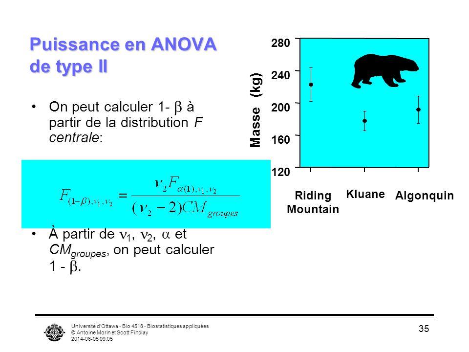 Université dOttawa - Bio 4518 - Biostatistiques appliquées © Antoine Morin et Scott Findlay 2014-06-05 09:06 35 Puissance en ANOVA de type II On peut calculer 1- à partir de la distribution F centrale: À partir de 1, 2, et CM groupes, on peut calculer 1 -.